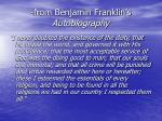 from benjamin franklin s autobiography