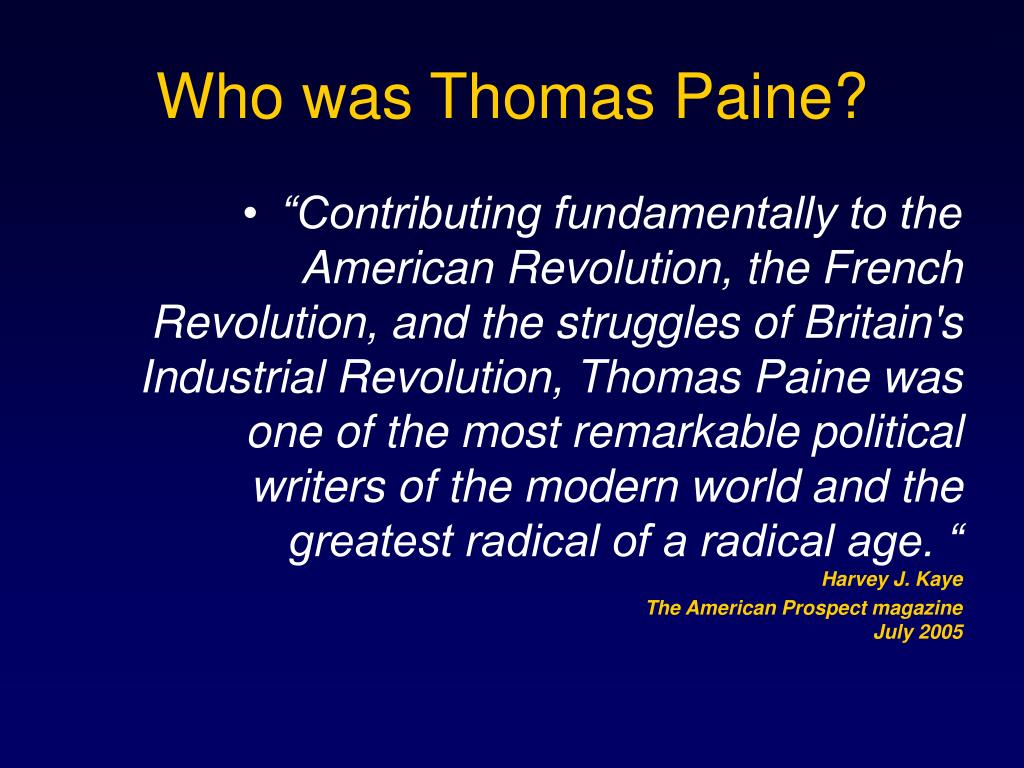 Who was Thomas Paine?