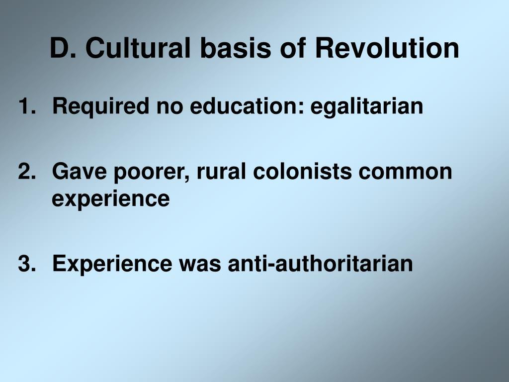 D. Cultural basis of Revolution