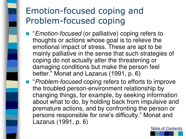 problem focused coping and emotion focused coping