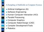 a sampling of subfields in computer science