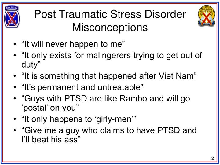 Post traumatic stress disorder misconceptions