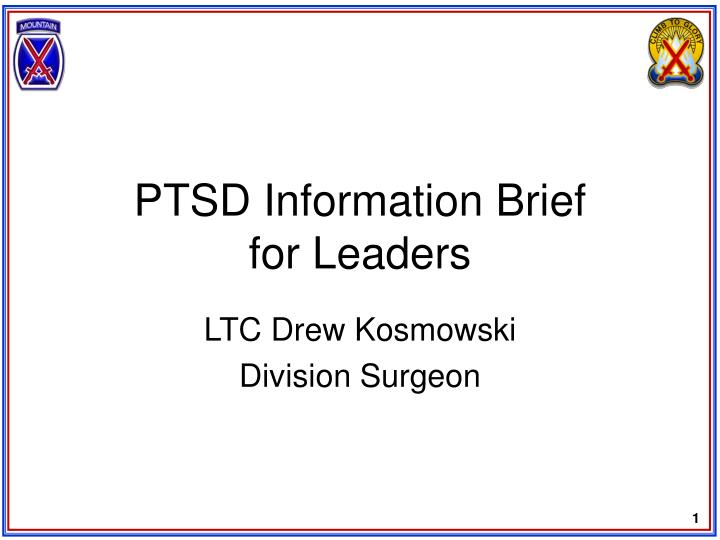Ptsd information brief for leaders