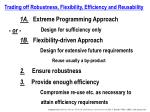 trading off robustness flexibility efficiency and reusability