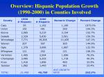overview hispanic population growth 1990 2000 in counties involved