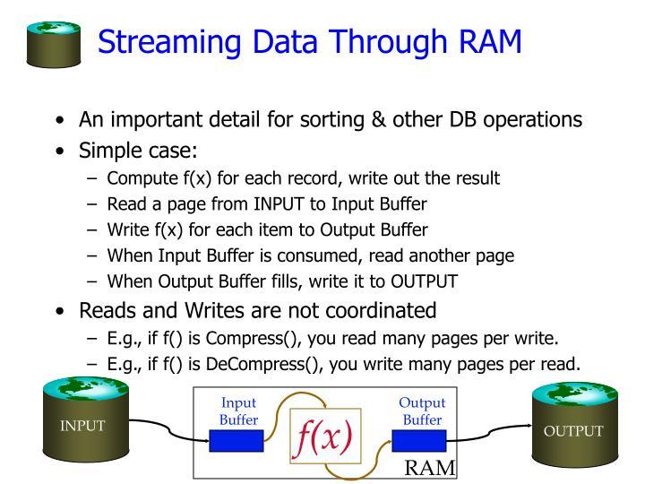 Streaming data through ram
