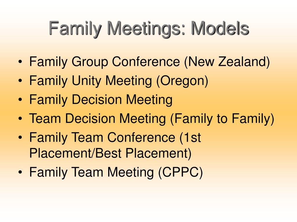 Family Meetings: Models
