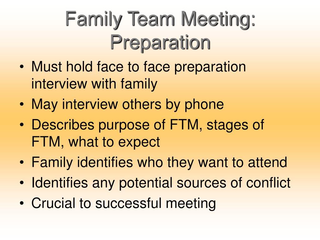 Family Team Meeting: Preparation