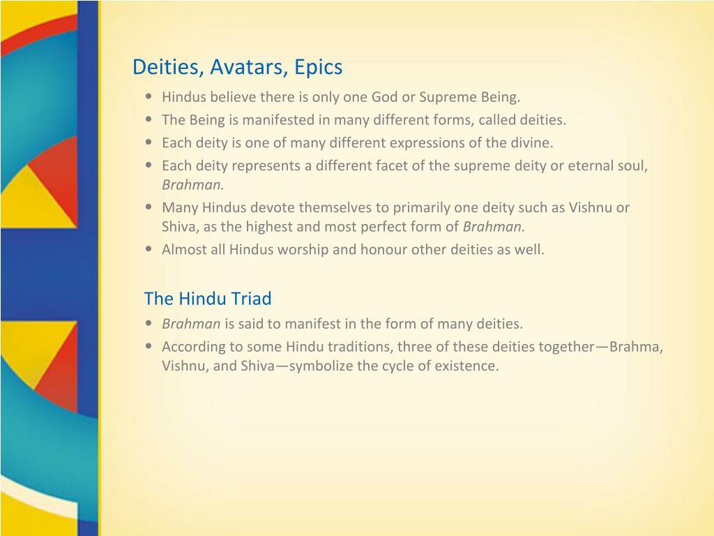 Deities, Avatars, Epics