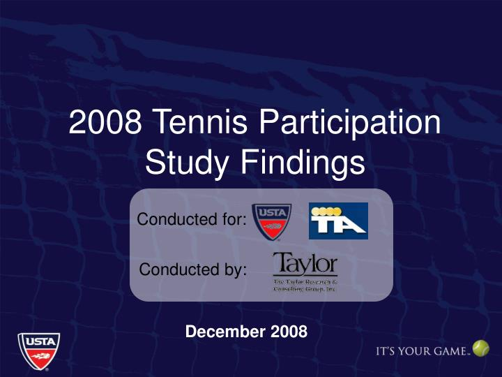 2008 tennis participation study findings