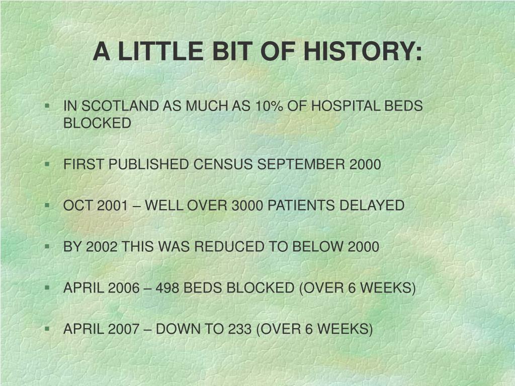 A LITTLE BIT OF HISTORY: