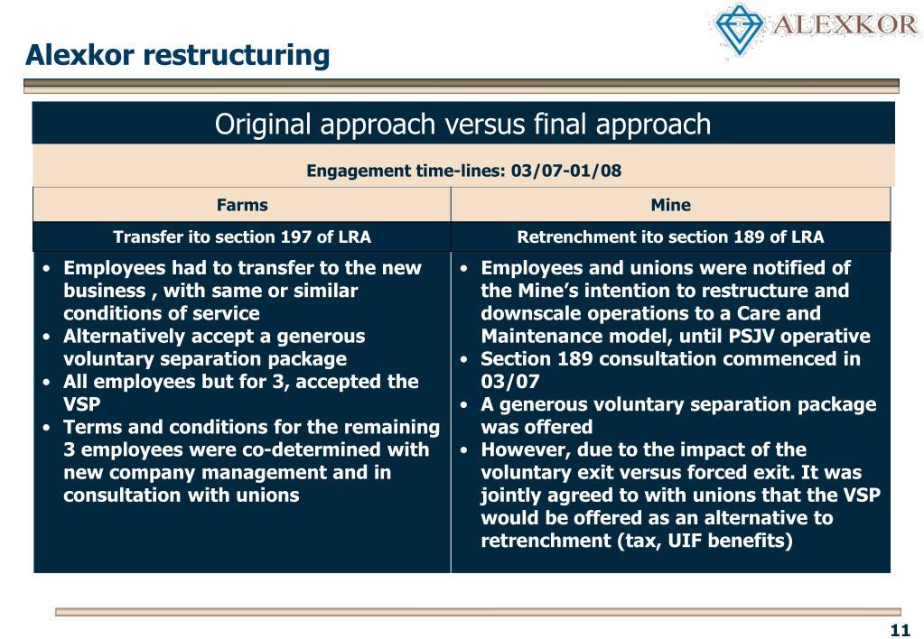 Alexkor restructuring