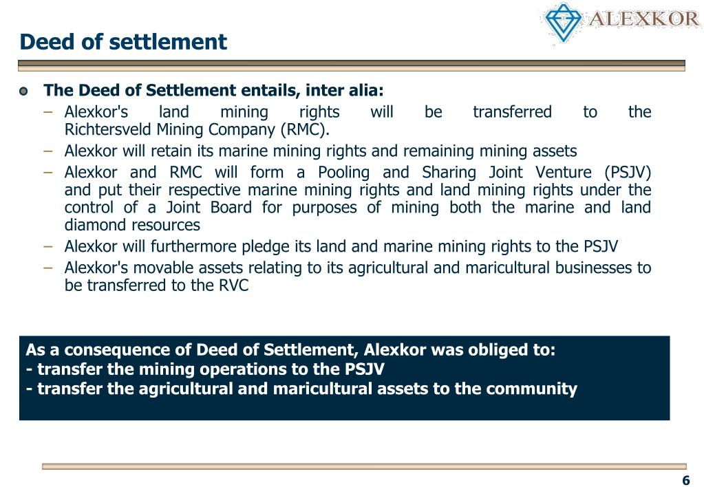 Deed of settlement