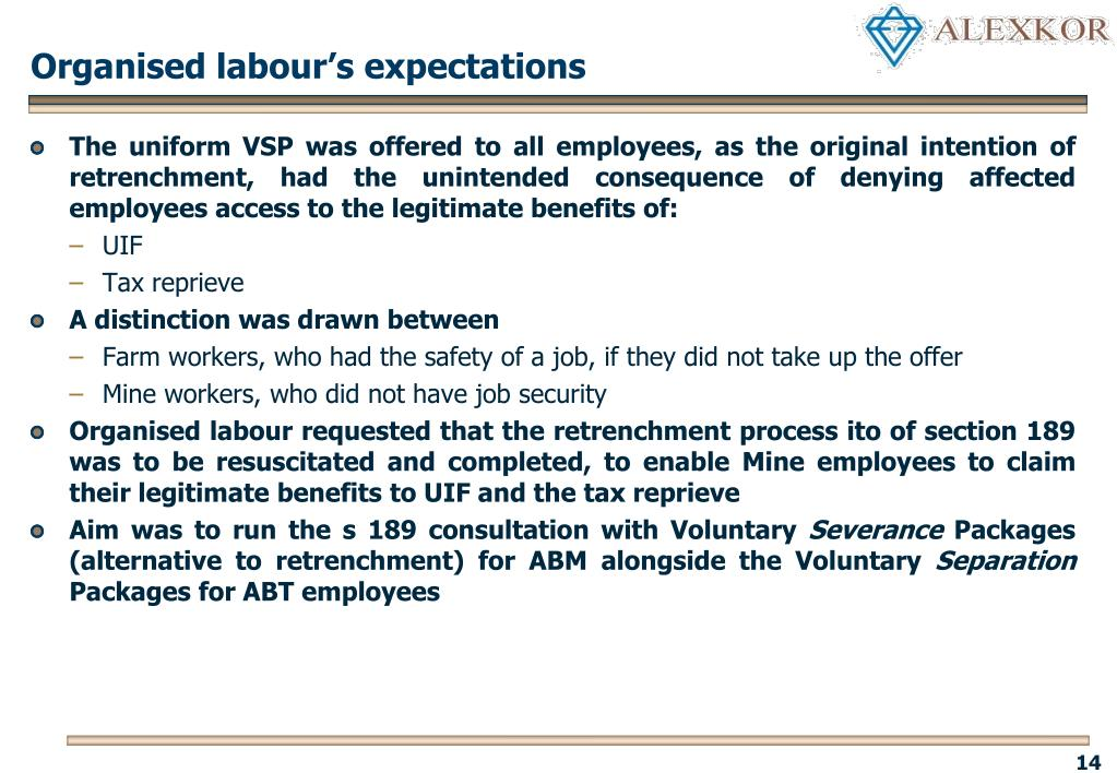 Organised labour's expectations