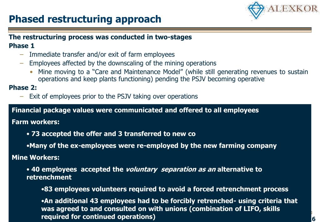 Phased restructuring approach