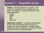 activity 1 negotiate scope