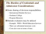 the burden of credentials and admission considerations