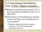 u s international enrollments from 3 year degree countries