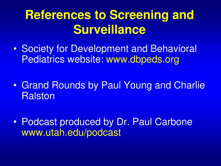 References to Screening and Surveillance