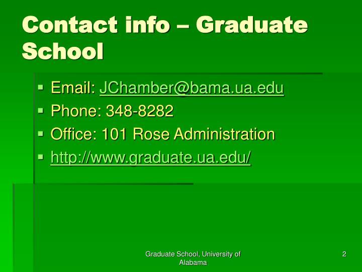 Contact info graduate school