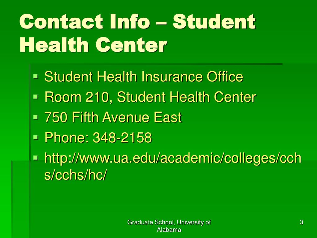 Contact Info – Student Health Center