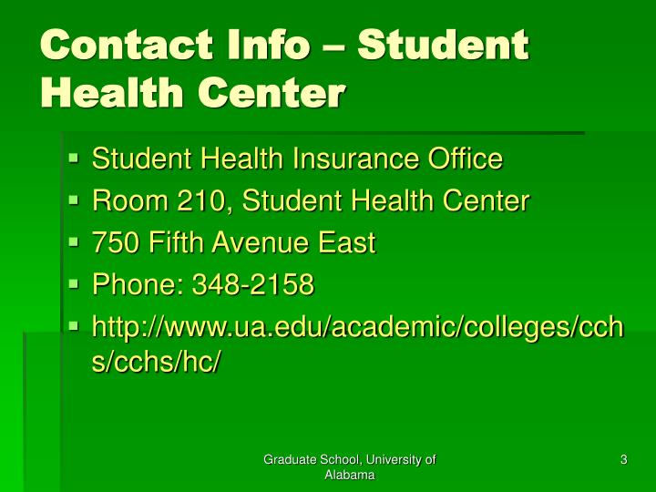 Contact info student health center
