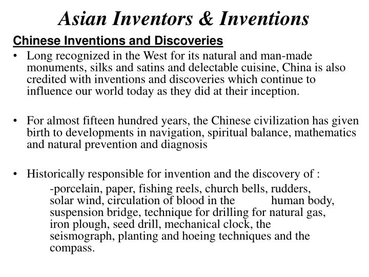 Asian inventors inventions