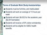 terms of graduate work study assistantships