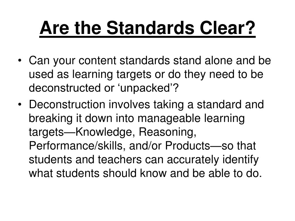 Are the Standards Clear?