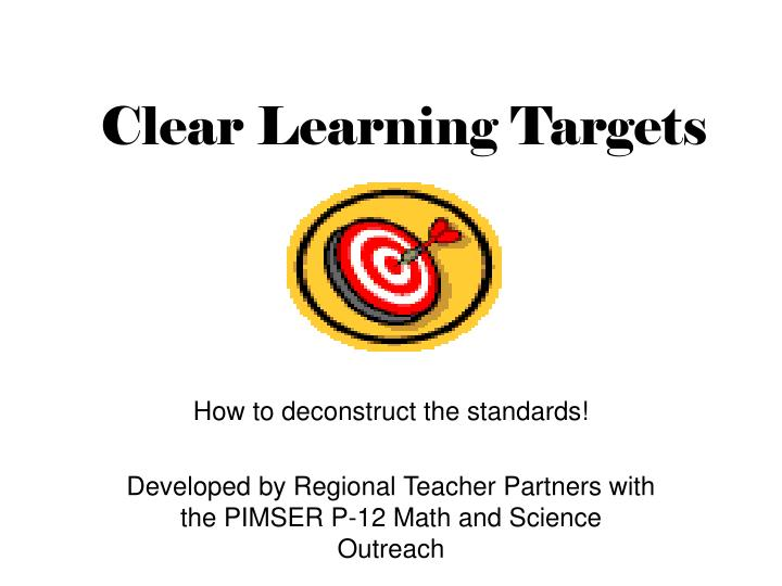 clear learning targets n.