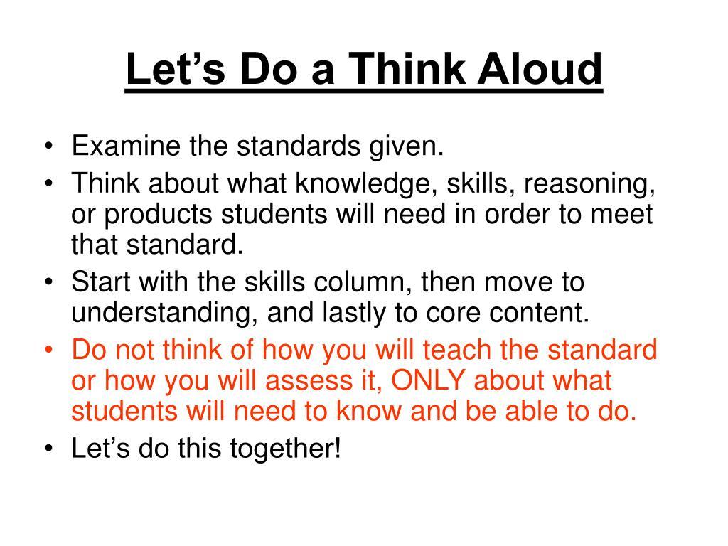 Let's Do a Think Aloud