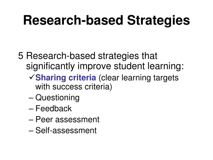 Research based strategies