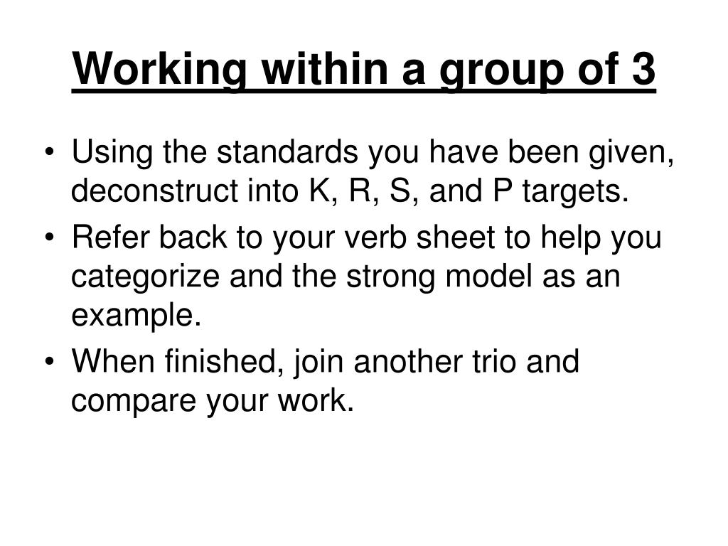 Working within a group of 3