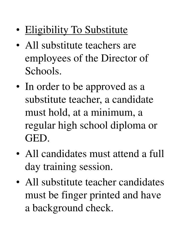 Eligibility To Substitute
