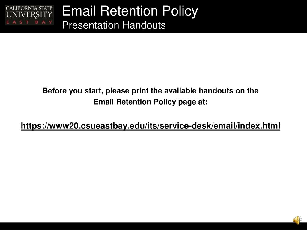 email retention policy presentation handouts l.