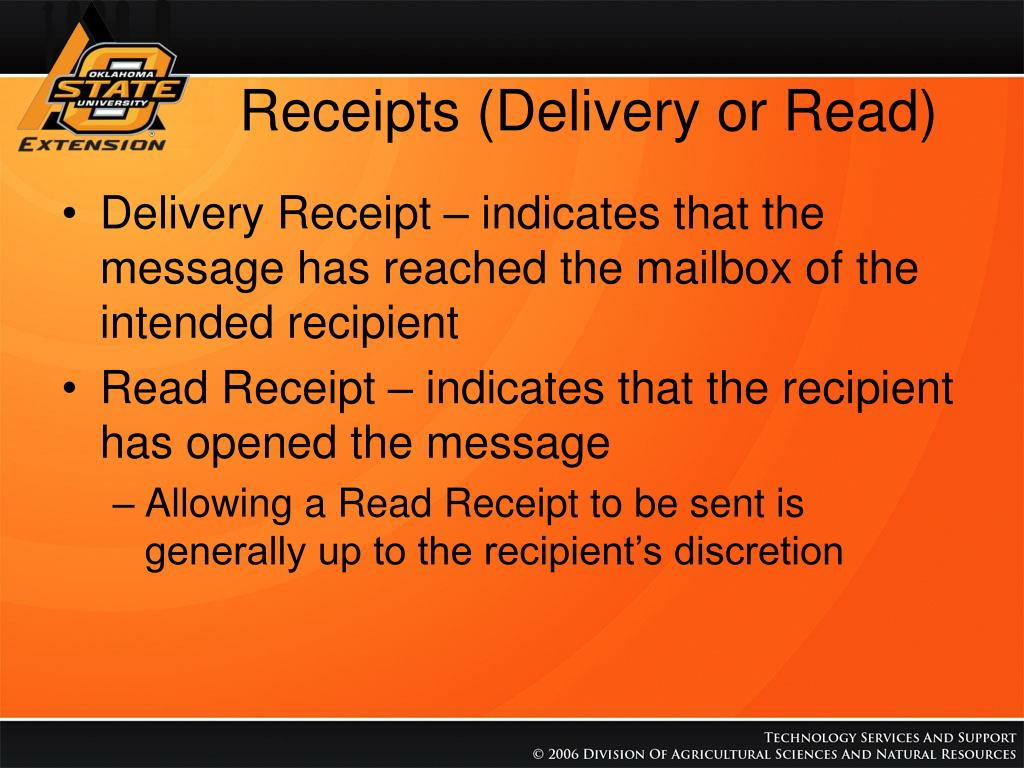 Receipts (Delivery or Read)