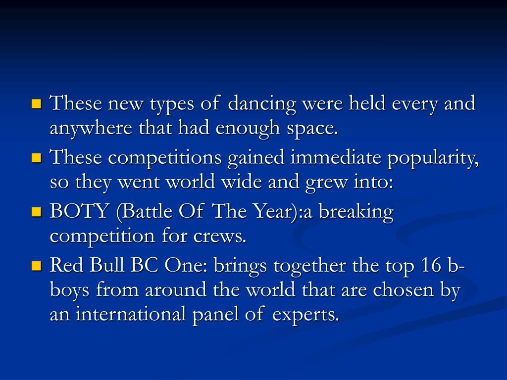 These new types of dancing were held every and anywhere that had enough space.