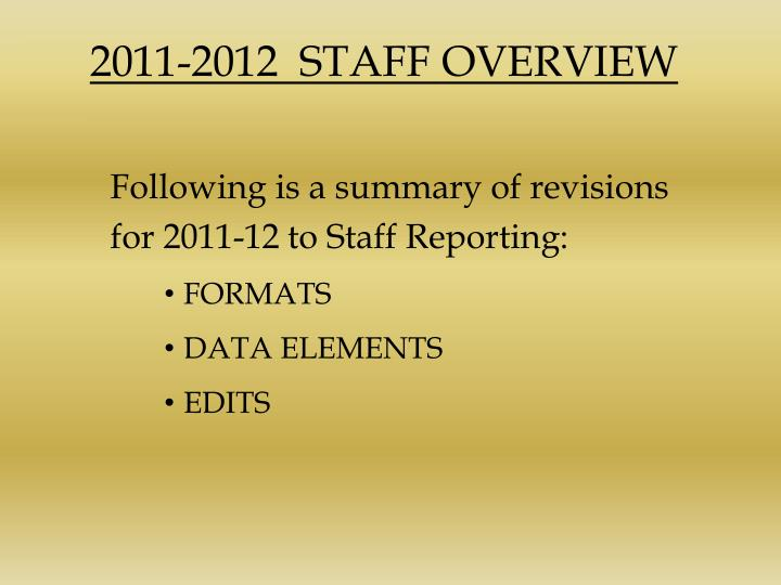2011 2012 staff overview