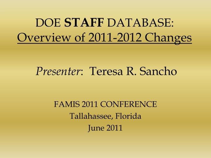 Doe staff database overview of 2011 2012 changes