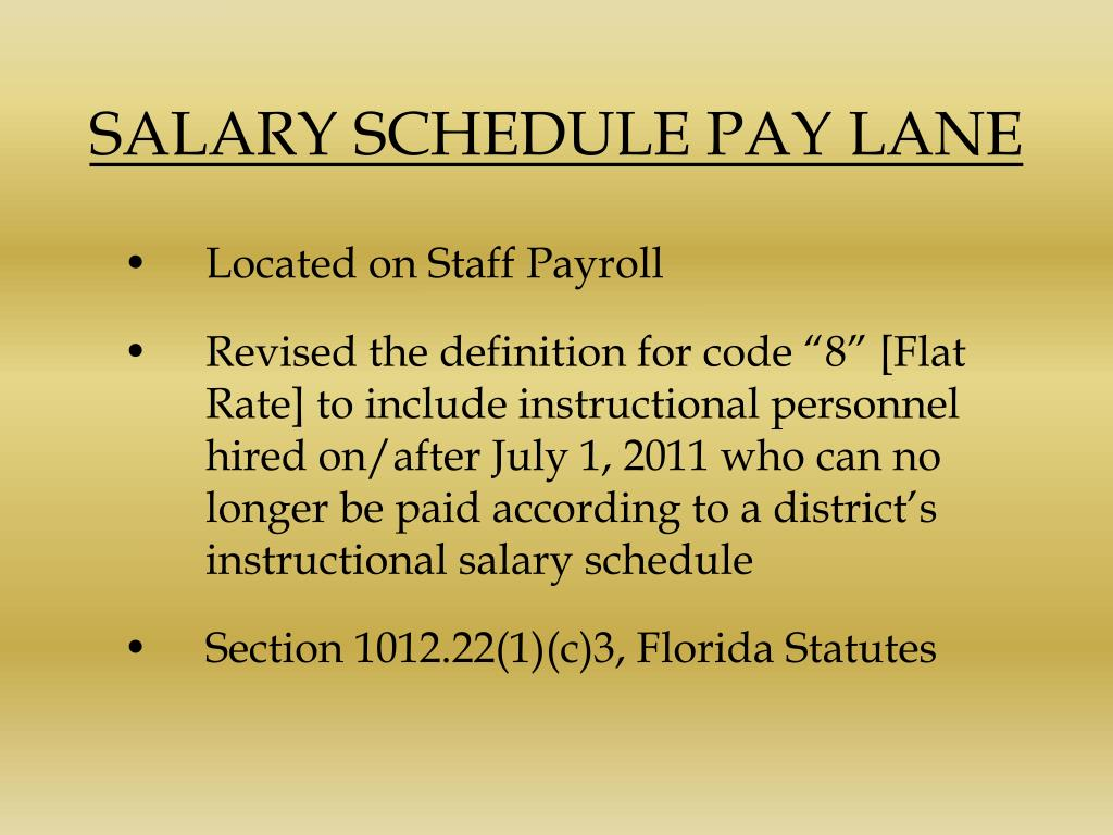 SALARY SCHEDULE PAY LANE