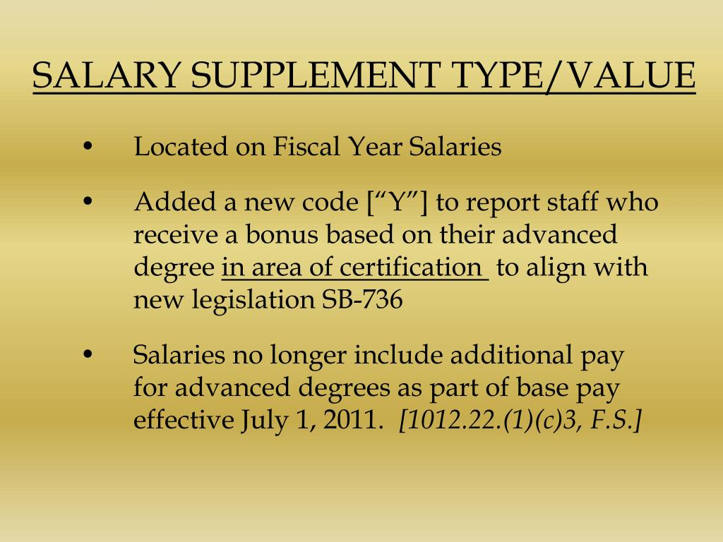SALARY SUPPLEMENT TYPE/VALUE
