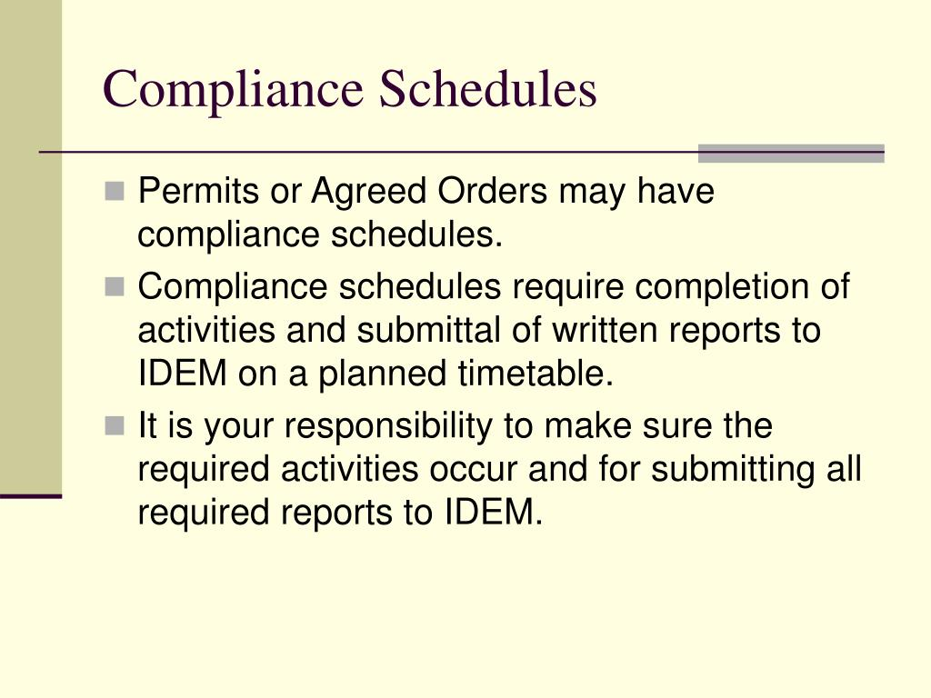Compliance Schedules