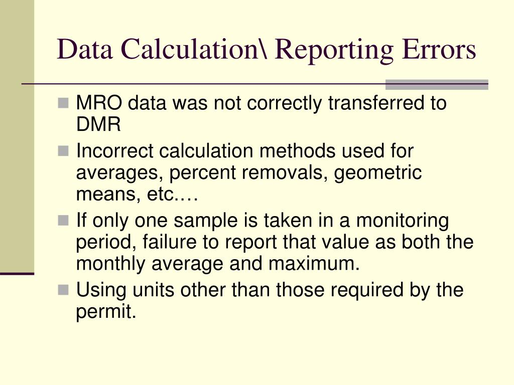 Data Calculation\ Reporting Errors
