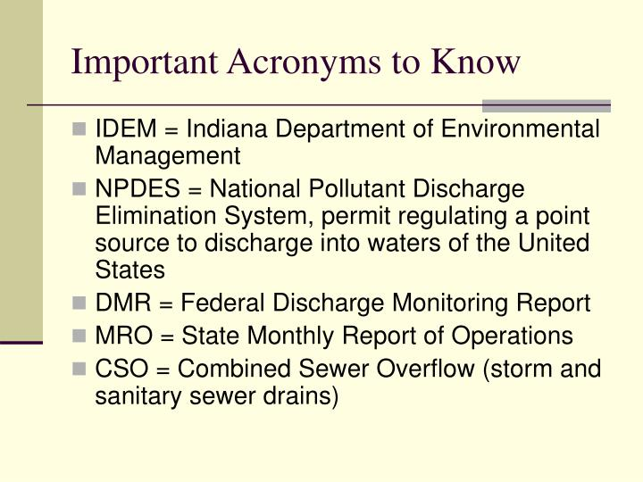Important acronyms to know