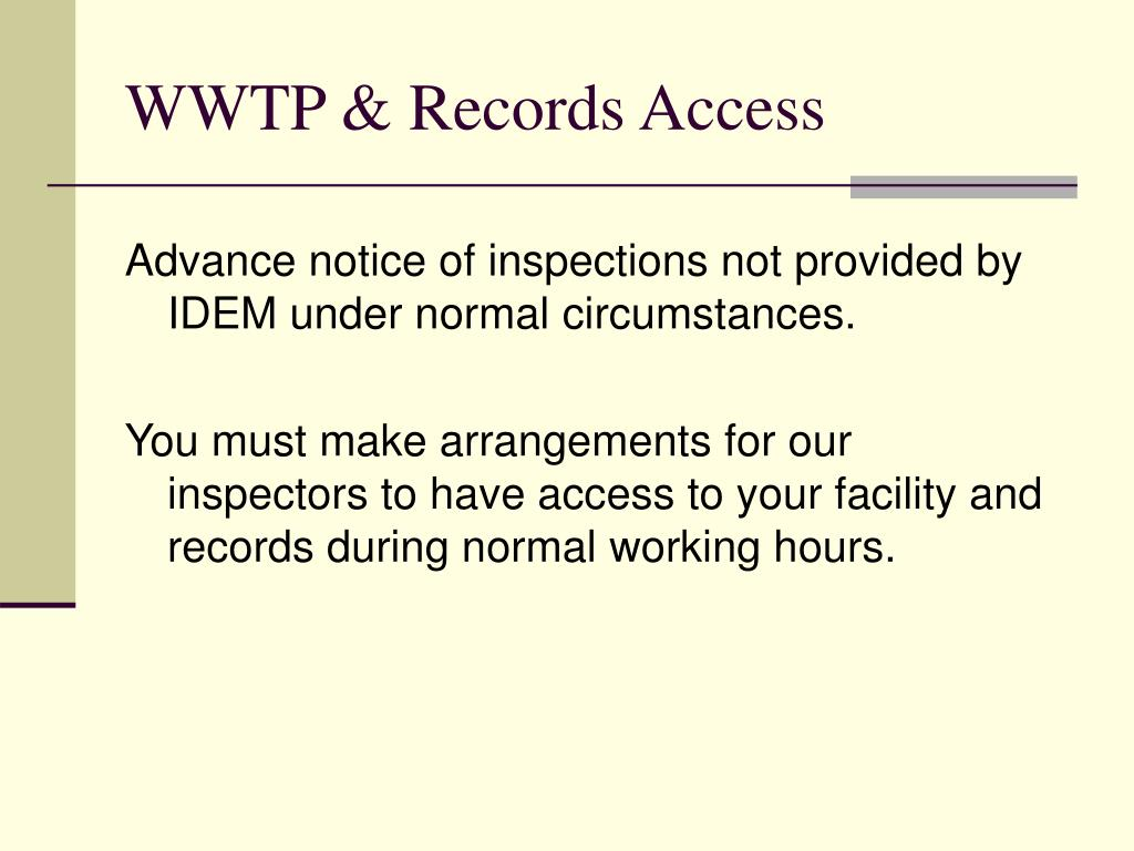 WWTP & Records Access