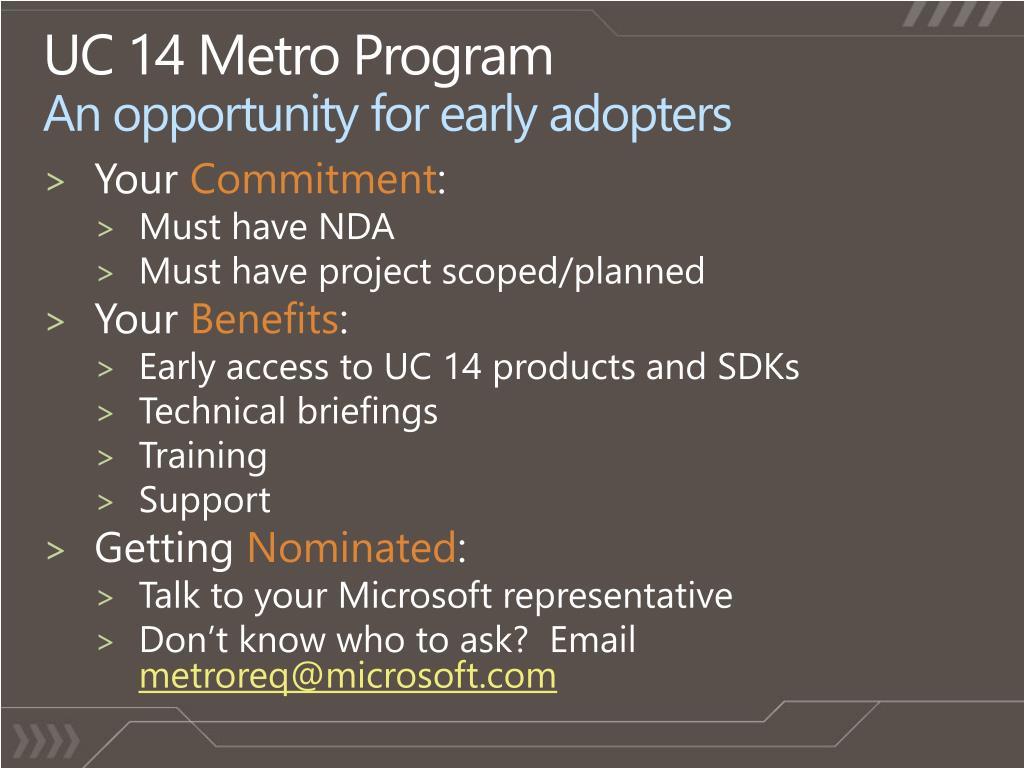 UC 14 Metro Program