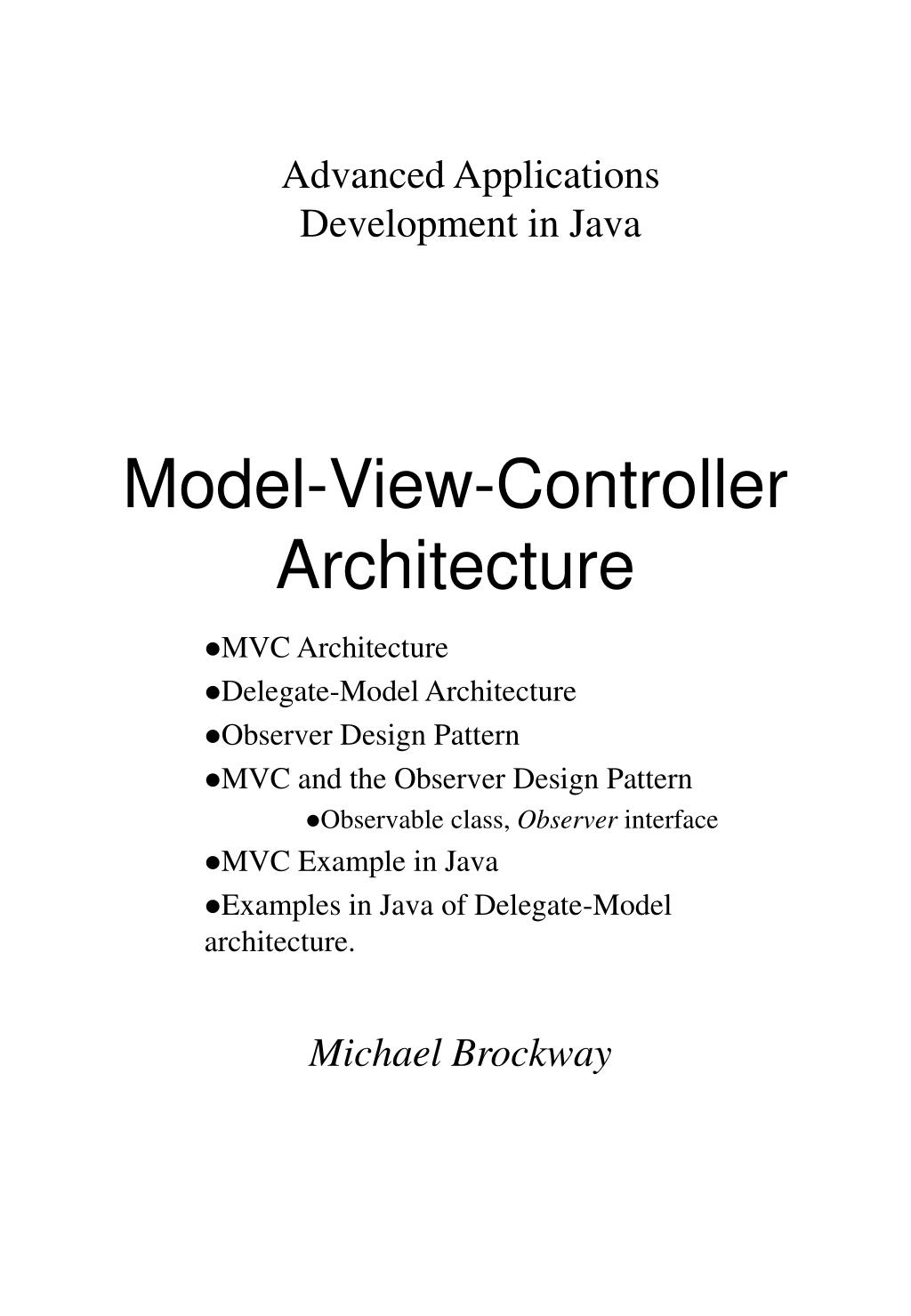 model view controller architecture l.