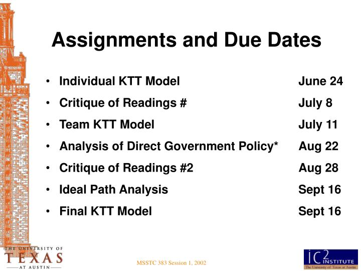 Assignments and Due Dates