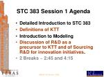 stc 383 session 1 agenda