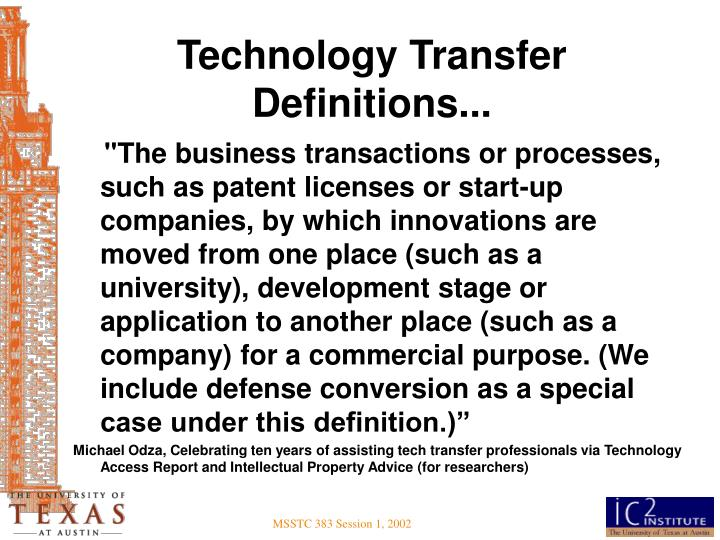 Technology Transfer Definitions...